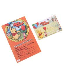 Winnie The Pooh Invitation & Envelopes Pack Of 10 - Multi Color