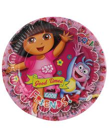 Dora Two Paper Plates Diameter 9 Inches Pink - 10 Pieces