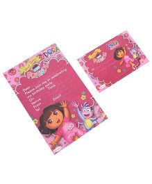 Dora Invitation & Envelopes Pack Of 10 - Pink
