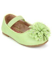 Yokids Slip-On Belly Shoes Floral  Applique - Light Green