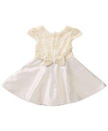 Beebay Cap Sleeves Party Dress Bow Applique - Golden