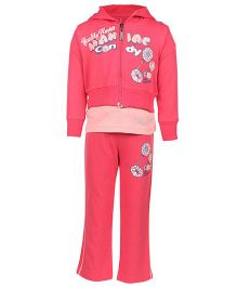 Mickey Full Sleeves Jacket Top And Track Pant Caption Print - Pink