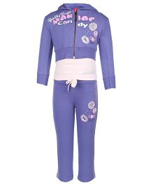 Mickey Full Sleeves Jacket Top And Track Pant Caption Print - Purple