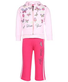 Mickey Full Sleeves Jacket Top And Track Pant Butterfly Print - Pink