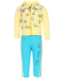 Mickey Full Sleeves Jacket Top And Track Pant Butterfly Print - Yellow Blue