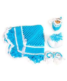 The Original Knit Baby Blanket Cap And Booties - Sky Blue