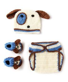 The Original Knit Nappy Booties and Cap Puppy photo prop Set - Multicolored