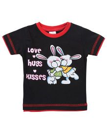 Babyhug Half Sleeves T-Shirt Bunny Print - Black
