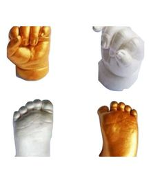 My Impression Studio DIY Superior Color Changing Material Newborn 3D Hands And Feet Casting Kit – White & Metallic Gold