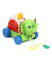 Kids Zone Pull Along Timmy Elephant - Green