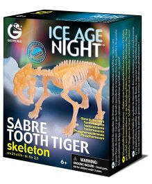 Geoworld Ice Age Night Sabre Tooth Tiger Glow In The Dark Skeleton