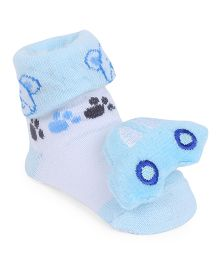 Cute Walk By Babyhug Sock Shoes With Car Motif - Blue