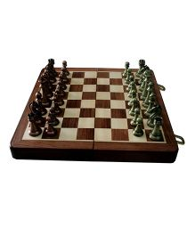 Adraxx Handmade Folding Chess Board Game With Metallic Pieces