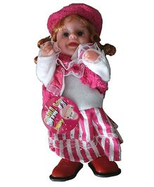 Adraxx Cute Collectible Baby Doll In Stylish Clothes - Pink And White