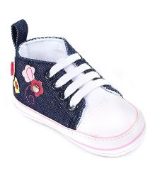 Cute Walk Baby Shoes Floral Design - Navy Blue White