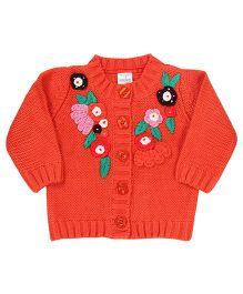 Babyhug Floral Design Woolen Cardigan - Orange
