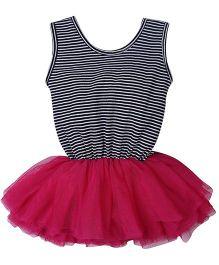 Babyhug Sleeveless Ballerina Frock In Stripes Pattern - Black And Pink