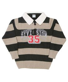 Babyhug Striped Collar Sweater - Beige And Black