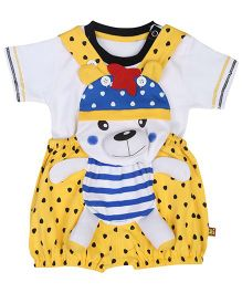 Wow Sleeveless Dungaree With T-Shirt Bear Applique - Yellow