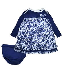 FS Mini Klub Long Sleeve Frock With Bloomer - Navy Blue