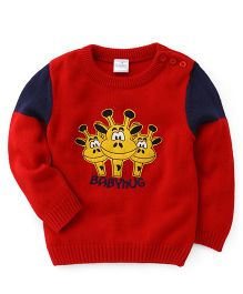Babyhug Full Sleeves Sweater Giraffe Embroidery - Red