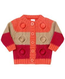 Babyhug Embroidered Cardigan - Orange Beige Pink