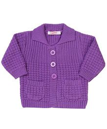 Wingsfield Front Open Collar Neck Sweater - Purple