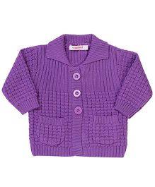 Wingsfield Front Open Collar Neck Sweater - Purple