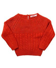Wingsfield Raglan Sleeves Pullover Sweater - Orange