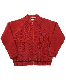Wingsfield Front Zippered Cable Knit Sweater - Maroon