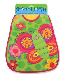 Stephen Joseph Wipeable Bib Butterfly - Green And Pink