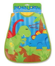 Stephen Joseph Wipeable Bib Dino - Green And Multicolor