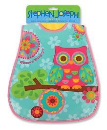 Stephen Joseph Wipeable Bib Owl - Pink And Multicolor