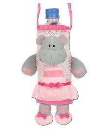 Stephen Joseph Bottle Holder Buddies Hippo - Grey And Pink