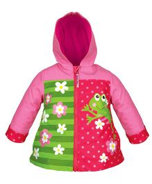 Stephen Joseph Hooded Raincoat Frog Design - Pink