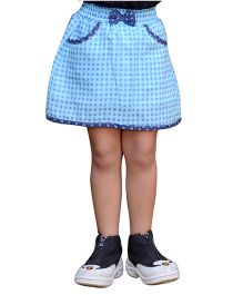 Snowflakes Checkered Skirt - Blue