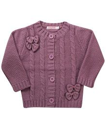 Wingsfield Bow Design Cardigan - Purple