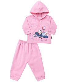 Child World Hooded Full Suit Bear In Aeroplane Print - Pink