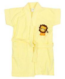 Babyhug Half Sleeves Solid Color Bathrobe Lion Embroidery - Lion Yellow