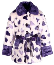 Cutecumber Full Sleeves Jacket Hearts Design - Purple And White