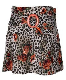 Cutecumber Floral Printed Skirt With Buckle On Front - Orange