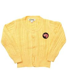Pinehill Pointelle Knit Full Sleeves Cardigan - Sunshine Yellow