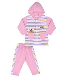 Child World Hooded T-Shirt And Pant Play Time Embroidery - Pink