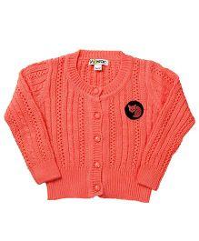 Pinehill Pointelle Knit Full Sleeves Cardigan - Pink Melon