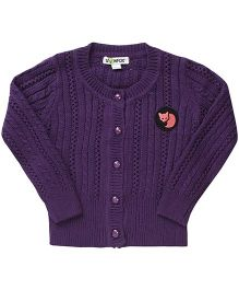 Pinehill Pointelle Knit Full Sleeves Cardigan - Purple