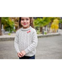 Pinehill Cable Knit Sweater With Bow - Grey