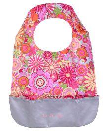 Ju.Ju.Be Be Neat Reversible Baby Bib Zany Zinnias Print - Pink