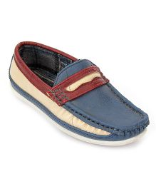 Kittens Slip On Loafers Stitch Detailing - Navy Blue