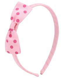 Pikaboo Hair Band With Polka Bow - Light Pink