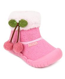 Kittens Ankle Length Boots - Pink And White